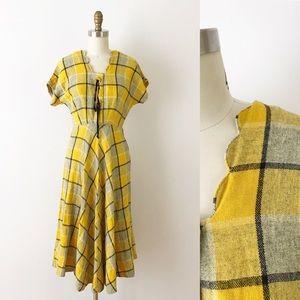 1940s Plaid Wool Day Dress Yellow Gray Vintage XS